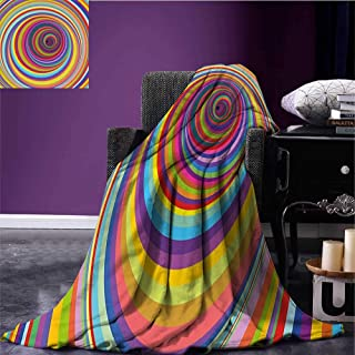 sunsunshine Rainbow Cozy Flannel Blanket Hypnotic Rainbow Colored Vortex Hypnotic Effect Optical Illusion Psychedelic Print Coverlet Multicolor Bed or Couch 50