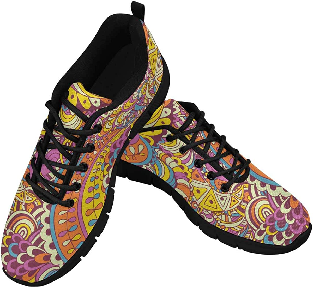 INTERESTPRINT Mandalas Paisley Pattern Women's Sneaker Lace Up Running Comfort Sports Shoes