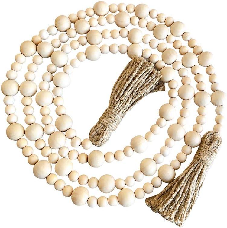 不适用 Wood Bead Garland with Bombing new work Tassels Farmhouse Beads Ranking TOP5 Prayer