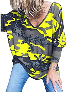 Howely Womens Long-Sleeve V-Neck Camo Casual Shirt Blouse