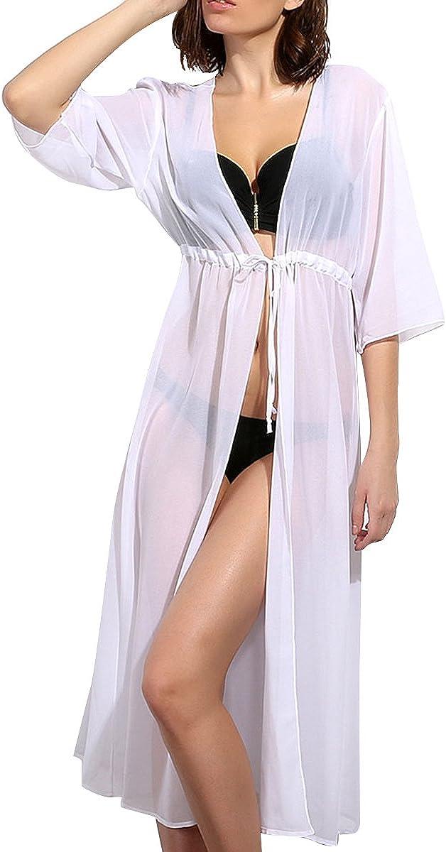 Upopby Women's Chiffon Long Swimsuit Cover Up Beach Swimwear Bikini Coverups Cardigan