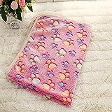 L-FENG-UK Pet Dog Cat Puppy Kitten Soft Blanket Doggy Warm Bed Mat Paw Print Cushion (Pink)