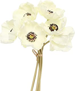 Angel Isabella, LLC 12pc Keepsake Artificial Real Touch Poppy Lifelike and Eco-Friendly Perfect for Bouquet, Corsage, Centerpiece, etc. (Ivory)
