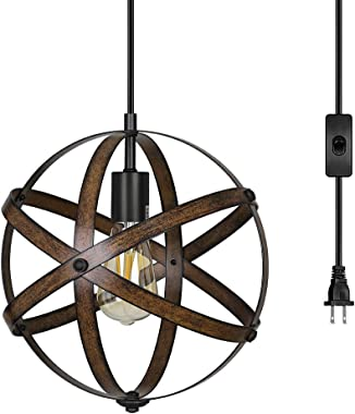 DEWENWILS Plug in Pendant Hanging Light, Wood Grain Industrial Style Metal Globe Vintage Ceiling Entryway Light Fixture with 15FT Cord and ON/Off Switch for Kitchen Island, Bedroom, Dining Hall