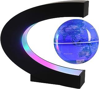 Magnetic Levitating Globe with LED Light, 3'' C Shape Base Floating Globes, Rotating World Map, Cool Tech Gift for Men Fat...