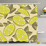 DANGCCI Shower Curtain Set with Hooks 66x72 Inches Colorful Ripe Citric Lemon Cut Food Drink Yellow Citrus Whole Delicious Juice Dessert Diet Juicy Bathroom Waterproof Polyester Fabric Bath Decor