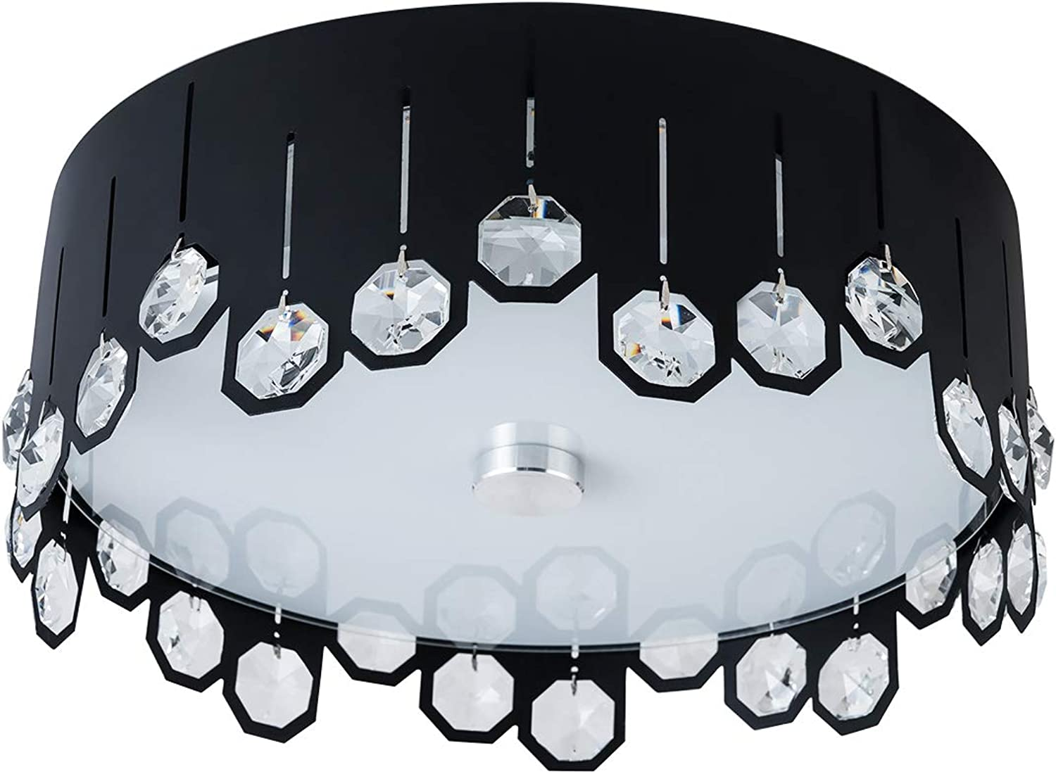 Lanros Crystal Flush Mount Ceiling Light, 13.8-inch Modern Simple Round LED Ceiling Light with 16W 3000K Warm White Apply to Bedroom, Dining Room, Living Room, Black & White