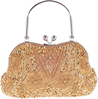New Fashion Handmade Sequins Beaded Embroidered Metal Handbag Ladies Evening Bag Chain Shoulder Messenger Bag Clutch Bag Size: 24 * 3 * 14CM Fashion (Color : Gold)