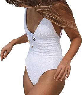 FuweiEncore Costumi da Bagno in Pizzo Push Up Senza Schienale Tankini Imbottito per Taglie Forti Trasparente Mare Piscina