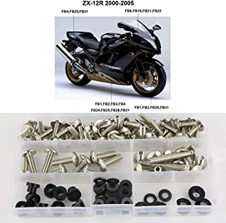 Xitomer Complete Fairing Bolts, for Kawasaki NINJA ZX-12R 2000-2005, Full Set Bodywork Screws/Fastenings/Mounting Kits (Silver)