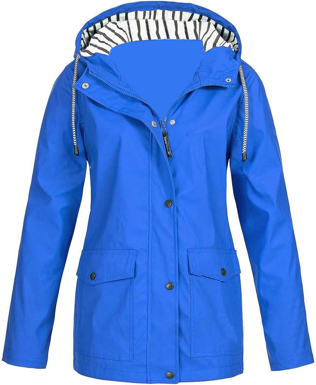Women's Solid Rain Jacket Outdoor Waterproof Hooded Raincoat Windproof Top