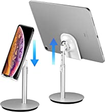 SAIJI Cell Phone Stand Tablet Holder, Height Adjustable, Aluminum Mount Dock, Compatible with iPhone Samsung Cell Phone, Tablet, iPad, Nintendo Switch, Kindle, eBook Reader Up to 10 Inch (Sliver) …