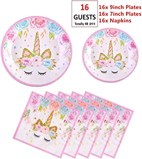 EXIJA Unicorn Party Supplies Set, 16 9inch Dinner Plates+16 7inch Dessert Plates+16 Napkins, Unicorn Plates and Napkins for Birthday Girls Party Favors,Serves 16