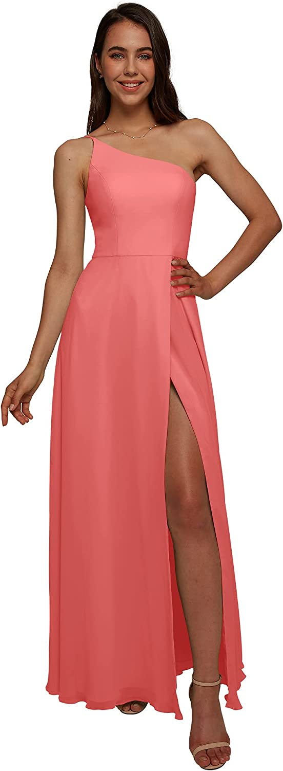 AW BRIDAL One Shoulder Chiffon Pink Now Long Beach Mall on sale Bridesmaid Lon Dresses Coral