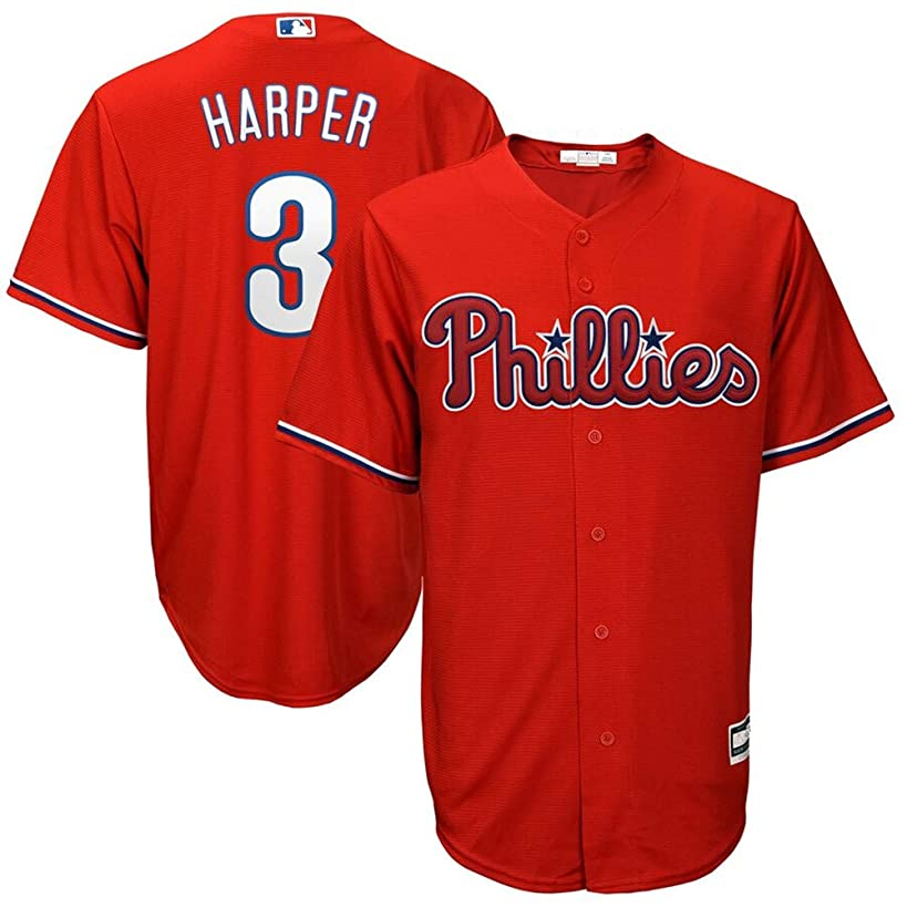 Mitchell & Ness #3 Bryce Harper Philadelphia Phillies Cool Base Player Jersey - Scarlet