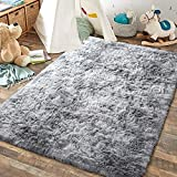 JOYFEEL Super Soft Area Rug, Modern Fuzzy Shag Fluffy Rugs for Bedroom Living Room Kids Playroom Nursery, Non Slip Carpet for Floor Tile Marble (Gray and White, 5x8 Feet)