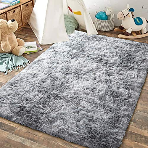 JOYFEEL Super Soft Area Rug, Modern Fuzzy Shag Fluffy Rugs for Bedroom Living Room Kids Playroom Nursery, Non Slip Carpet for Floor Tile Marble (Gray and White, 4x6 Feet)