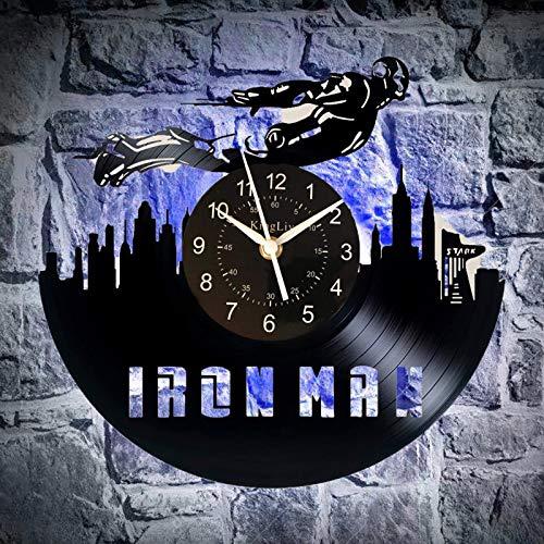 KingLive Iron Man Schallplatte Wanduhr Marvel Universe Infinity WAR Endgame Avengers - Geschenkidee für Kinder, Jugendliche, Erwachsene (led)