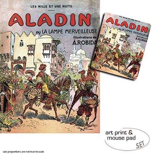 1art1 Albert Robida, Aladino Y La Lampara Maravillosa, 1001 Noches 1 Póster Impresión Artística (80x60 cm) + 1 Alfombrilla para Ratón (23x19 cm) Set Regalo