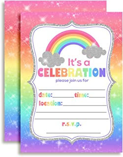 Rainbow Sparkle Birthday Party Invitations for Girls, 20 5