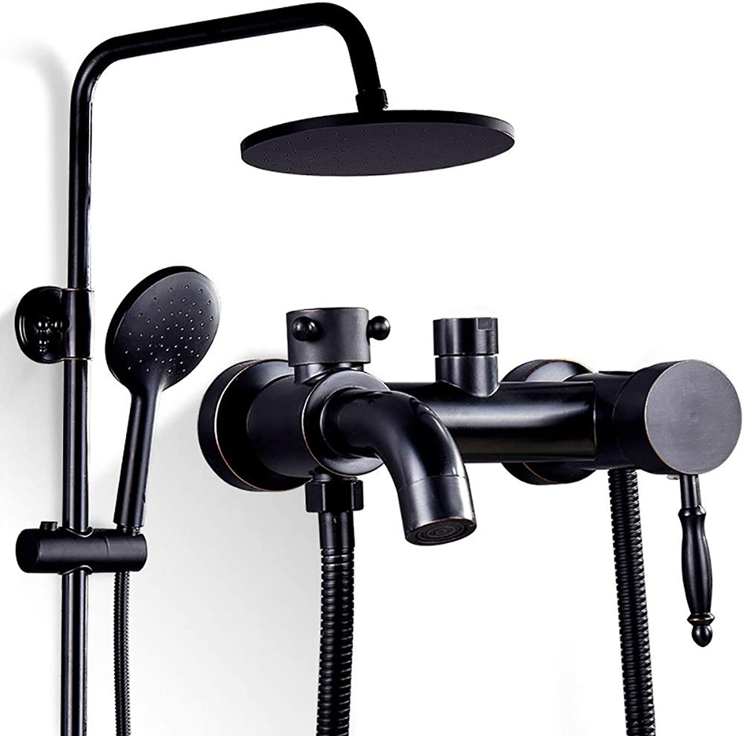 YYF-SHOWER Shower Systems Retro Copper Shower Set, Wall-mounted Free Lifting Hand Shower Bathroom redate Hot And Cold Water Tap (color   BLACK, Size   B)