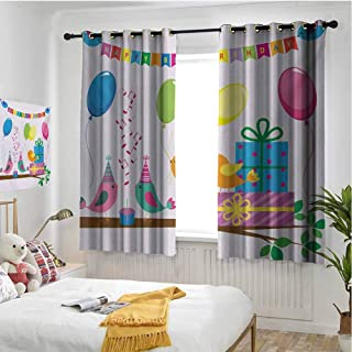 hengshu Kids Birthday 100% Blackout Lining Curtain Singing Birds Happy Birthday Song Flags Cone Hats Party Cake Celebration Full Shading Treatment Kitchen Insulation Curtain W84 x L96 Inch Multicolor