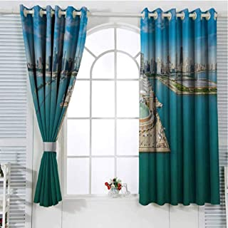 FreeKite Chicago Skyline Curtains for Sliding Glass Door Aerial Panorama of Navy Pier Marine Metropolis Big City Silhouette View Room Decor Blackout Shades W72 x L96 Inch Multicolor