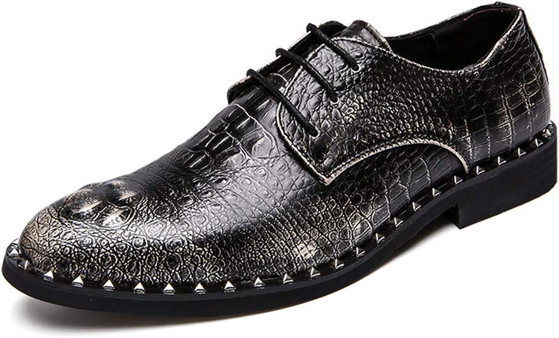 Jiuyue-schuhe, Sommer 2018 2018 2018 Beiläufiger Neuer Art der Männer der Krokodil-Niet-Abwischen-Farbe High-end Geschäfts-Oxford Formale Schuhe (Farbe   Champagne, Größe   38 EU)  4df17c