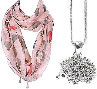 Lola Bella Gifts Hedgehog Lovers Scarf and Necklace Bundle