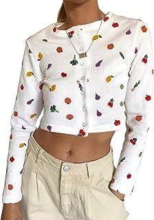 Camiseta con Estampado de Frutas para Mujer, Moda Casual, Salvaje, Manga Larga, cárdigan de un Solo Pecho, Top Corto