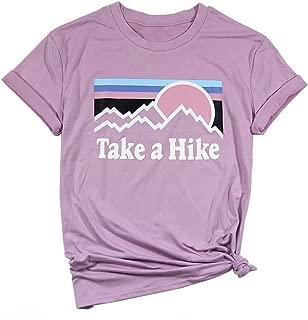 Take a Hike T Shirts Womens Funny Vacation Camping Shirts Casual Short Sleeve Graphic Tees Tops