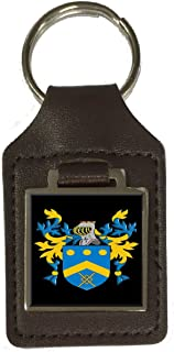 Wemyss Family Crest Surname Coat Of Arms Brown Leather Keyring Engraved