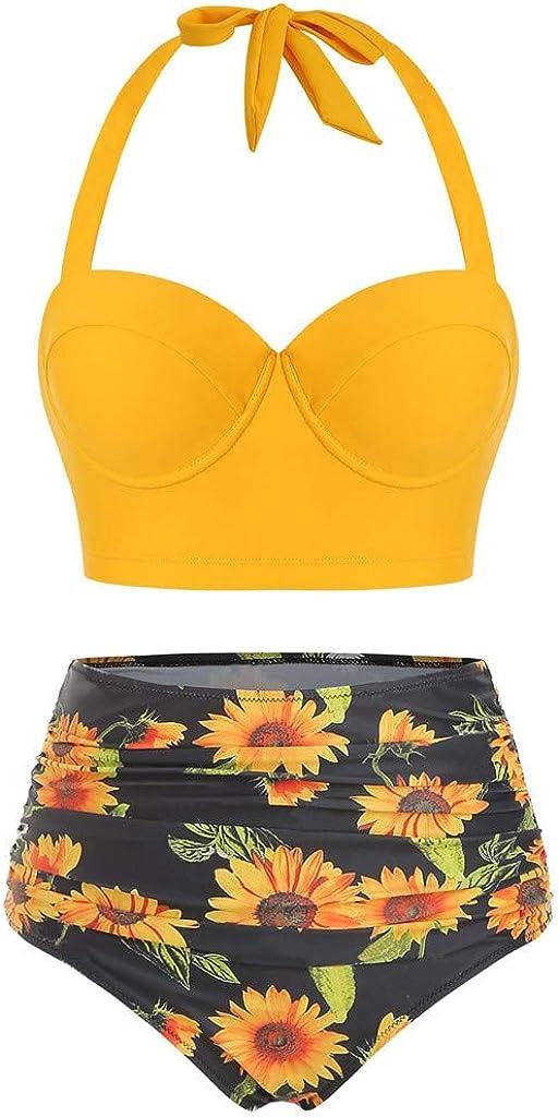 Ulanda-Swimsuits Women's Retro Vintage Underwire High Waisted Push Up Swimsuit Bikini Set