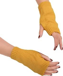 Sun Kea Women Girls Faux Suede Mittens Winter Warm Gloves with Fold Back Cuff