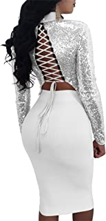 Sexy 2 Piece Club Outfits for Women Long Sleeve Lace up Bandage Crop Top + Midi Skirt