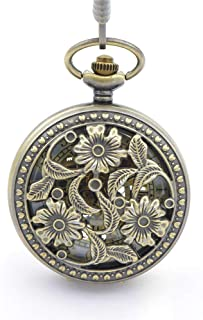 Vintage Bronze Hollow Flower Mechanical Pocket Watch Fashion Men's Mechanical Watch Roman Double Digital Pocket Watch A Nice Gift Vintage Pocket Watch