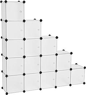 SONGMICS Armario Modular con 16 Cubos, Montaje en Bricolaje, Armario de Almacenamiento de Plástico, con Puertas, Estable, Instalación Sencilla, LPC44BS