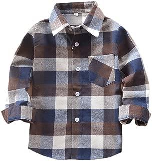 Kid Girl Boy Long Sleeve Button Down Plaid Flannel Shirt