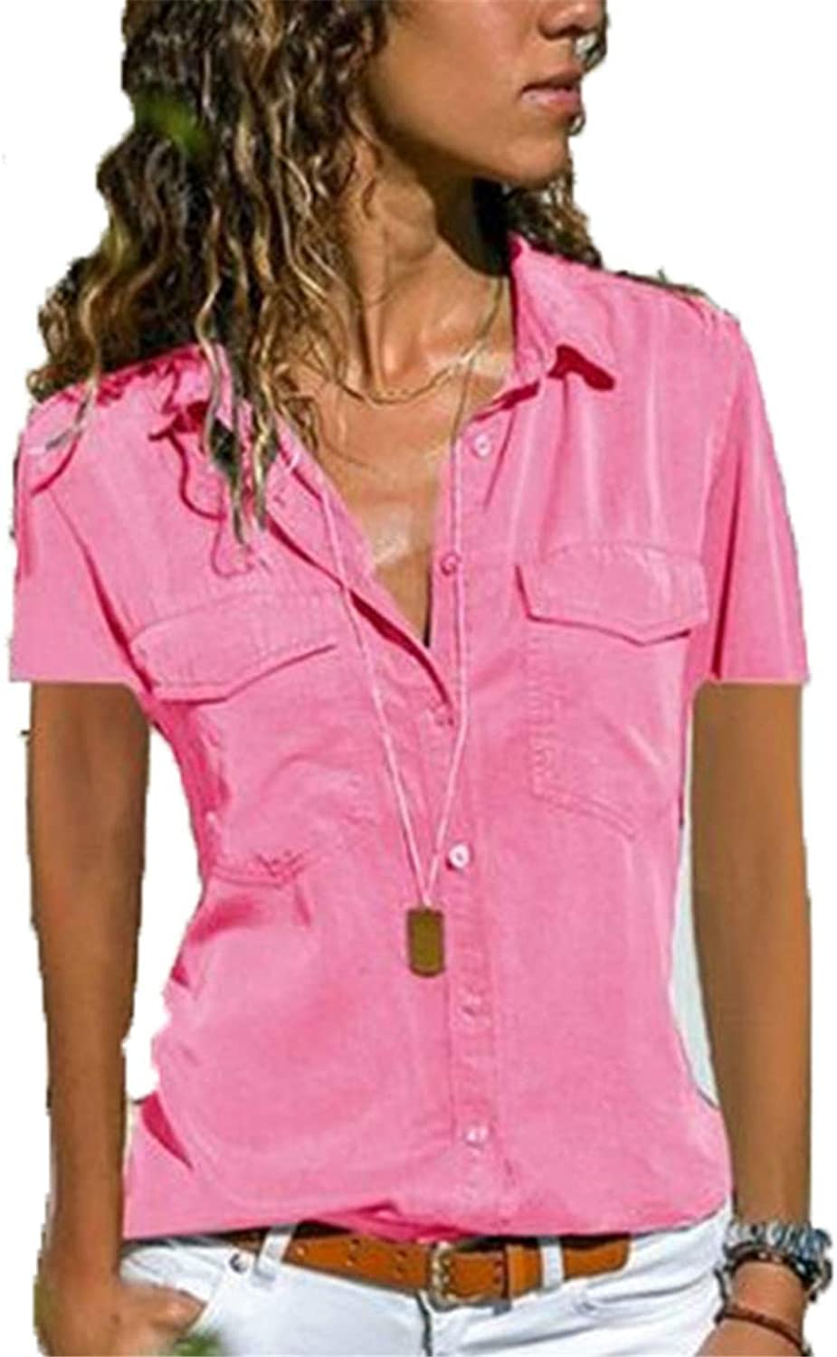 Soluo Women's Cotton Basic Button Down Shirt Tailored Short Sleeve Blouse (Pink,8X-Large)