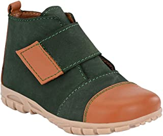 Hopscotch Tuskey Shoes Boys Genuine Leather Tan High Ankle Boot in Olive Color