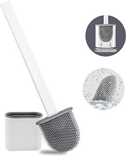 Brosse WC en silicone et récipient avec longue poignée - Base anti-gouttes pour garder le sol sec - Pour salle de bain - B...