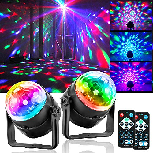 Disco Lights Party Lights QinGerS Dj Stage Light 7 Colors Sound Activated for Christmas KTV Club Lights Romantic Decoration(2pcs)