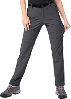 MIER Women's Quick Dry Convertible Cargo Pants Lightweight Stretchy Hiking Travel Pants, 5 Zip Pockets, Water Resistant