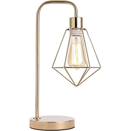 SOTTAE Industrial Gold Cage Table Lamp , cage Desk lamp Vintage Table Lamp Rustic Beside Lamp Rustic Desk Lamp Modern Table Lamp Metal Nightstand Lamp Bedside lamp for Bedroom,Living Room