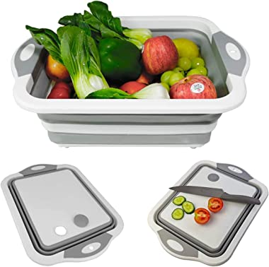 Zollyss Collapsible Cutting Board with Colander- Premium 3 in 1 Multifunction Veggies Washing Basket Kitchen Plastic Silicone
