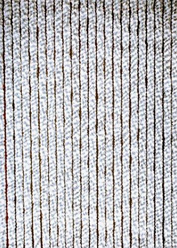 habeig Türvorhang Flauschvorhang Flauschi Chenille Insektenschutz Uni-Farben (grau/Weiss, 90 x 200 cm)