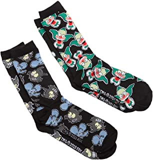 The Simpsons Krusty/Itchy & Scratchy Adult 2-pack Crew Socks