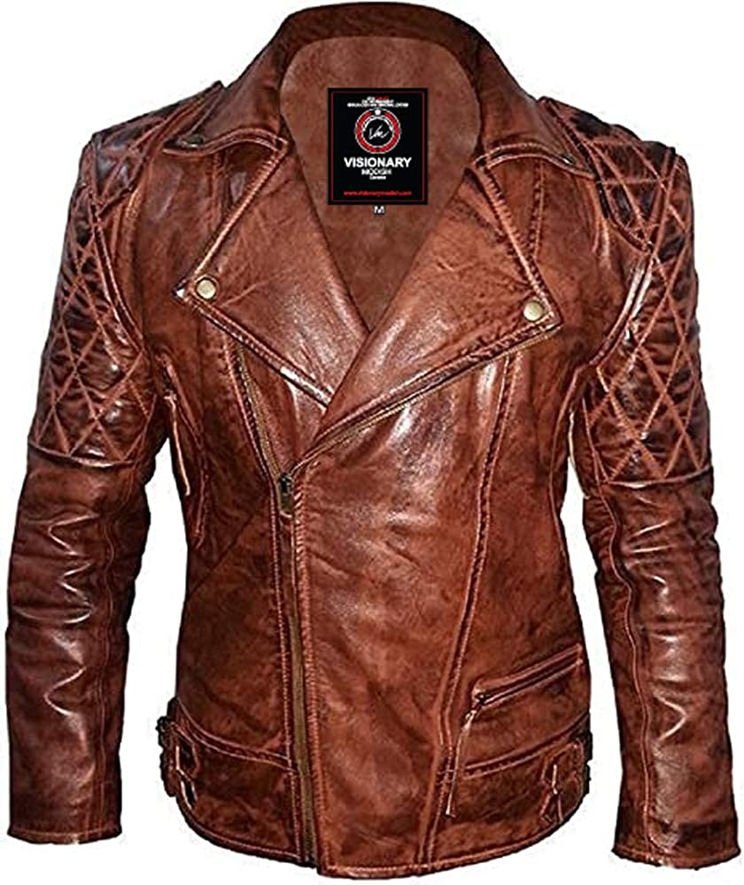 Men's Fashion Brando Style Distressed Diamond Quilted Genuine Sheepskin Leather Jacket- VM1921860