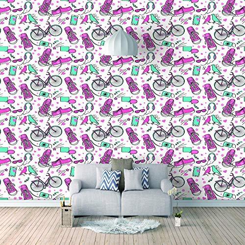 papier-peint Chaussures en toile vélo 3D mural Papier Peint Stickers Vinyle Film PVC Autocollant Cuisine Salle de Bain Comptoir Mur Decoratif-157x118 inch(400x300cm)