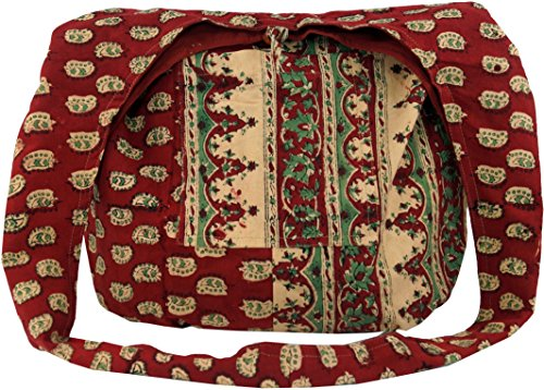 Guru-Shop Sadhu Bag, Umhängetasche, Blockdruck Hippie Schultertasche - Rot/paisley, Herren/Damen, Baumwolle, Size:One Size, Bunter Stoffbeutel
